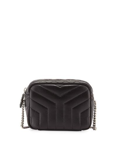 Monogram Y-Quilted Mini Leather Camera Crossbody Bag, Black