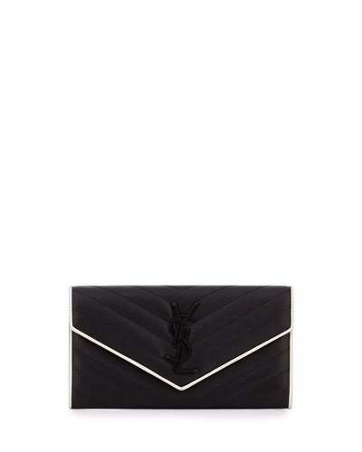 Monogram Leather Large Flap Continental Wallet, Black/White