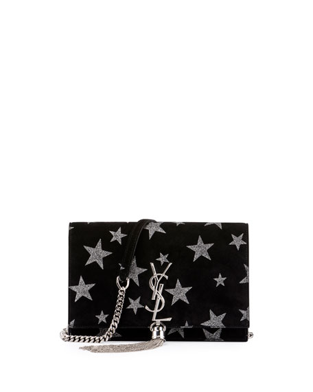 Kate Monogram Tassel Star Chain Wallet, Black/Silver