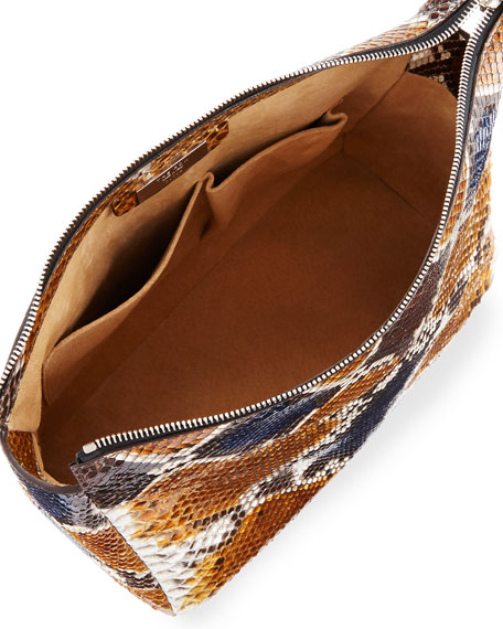 Two-For-One 12 Python Pouch, Sahara/Navy