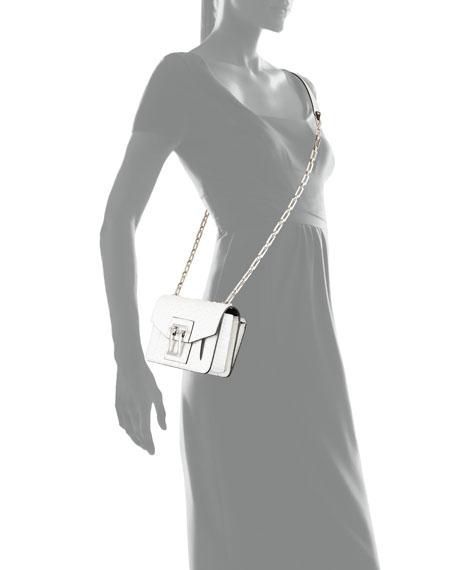 Hava Matte Python Chain Crossbody Bag, White