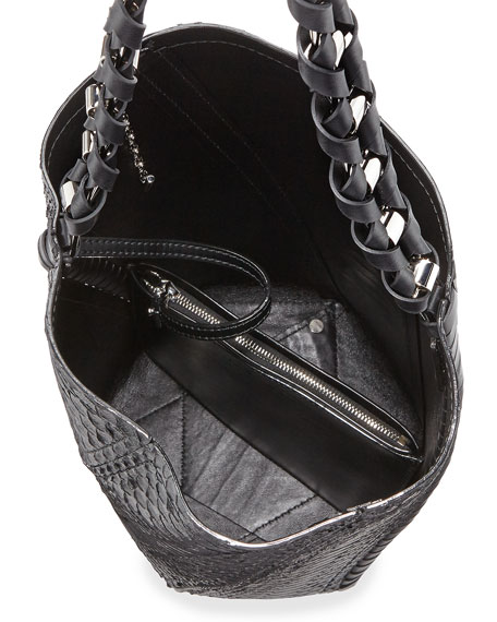 Hex Medium Bucket Bag, Black