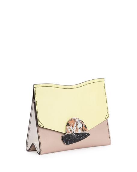 Curl Small Colorblock Clutch Bag, Optic White/Pale Citrus/Sand