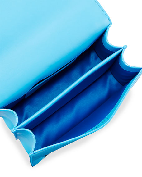 Floral Appliqué Chain Shoulder Bag, Blue