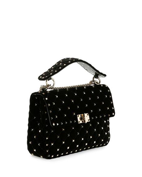 Rockstud Quilted Velvet Medium Shoulder Bag, Black