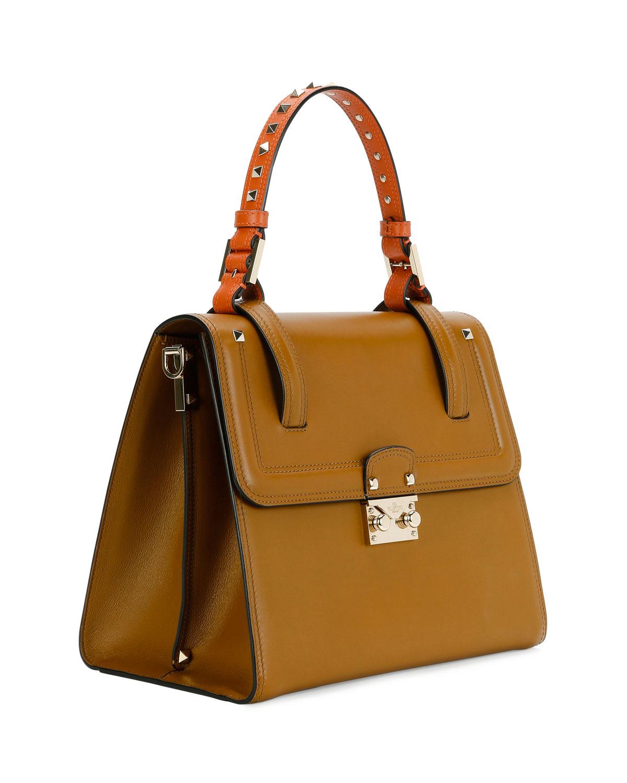 ca70ccd58a Valentino Garavani Cabana Medium Rockstud Top-Handle Satchel Bag, Bright  Cuir/Orange | Neiman Marcus