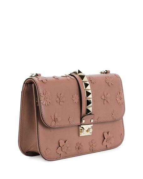 valentino garavani lock medium floral shoulder bag light pink. Black Bedroom Furniture Sets. Home Design Ideas