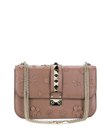 valentino garavani lock medium floral shoulder bag light pink neiman marcus. Black Bedroom Furniture Sets. Home Design Ideas