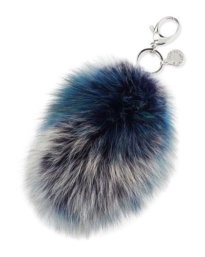 Fox-Fur Tail Charm for Handbag, Blue/Multi