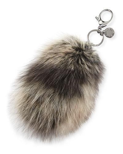 Fox-Fur Tail Charm for Handbag, Black/Multi