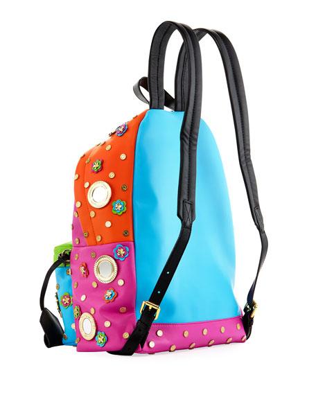 Trinket Embellished Leather Backpack, Multi