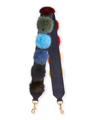 Fur Pompom Shoulder Strap for Handbag, Multi