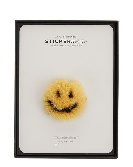 Smiley Mink Sticker for Handbag, Mustard