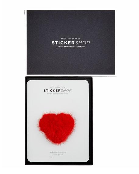 Heart Mink Sticker for Handbag, Red