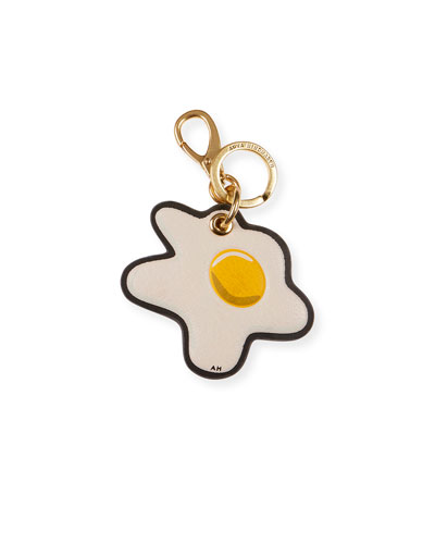 Egg Leather Keychain, White/Multi