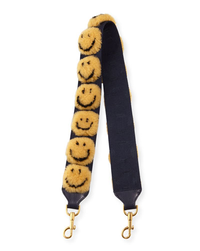 Pompom Smiley Shoulder Strap for Handbag, Mustard