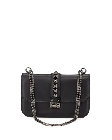 Rockstud Noir Medium Flap Shoulder Bag, Black