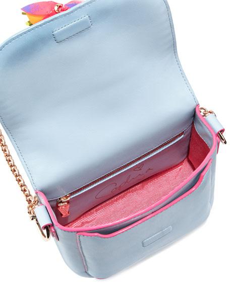 Claudie Tassel Leather Crossbody Bag, Pearl Blue