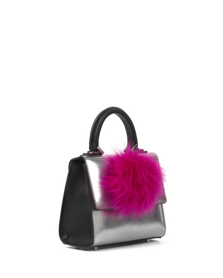 Micro Alex Metallic Bunny Bag, Silver/Black