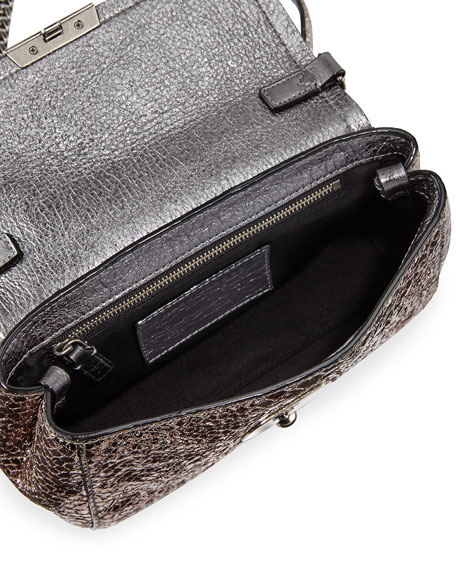 Metallic Snake-Embossed Crossbody Bag, Anthracite