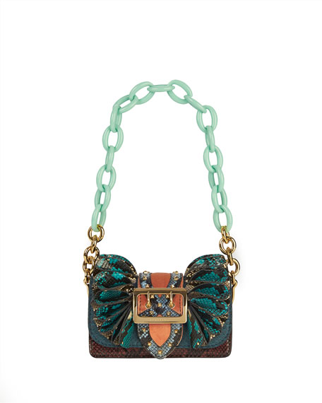 Burberry Bridle Baby Ruffled Snakeskin Shoulder Bag, Teal