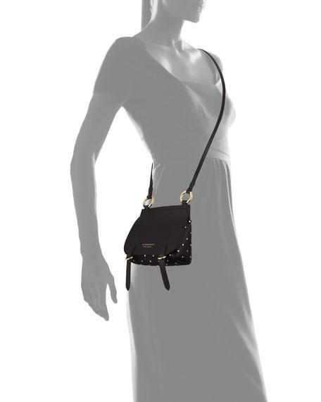 Bridle Baby Studded Leather Shoulder Bag, Black