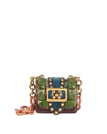 Bridle Baby Ruffled Snakeskin Shoulder Bag, Turquoise Green