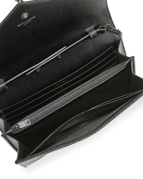 Monogram Matelassé Leather Wallet-on-Chain, Black
