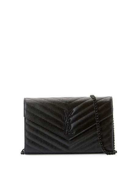 Saint Laurent Monogram Matelassé Leather Wallet-on-Chain, Black