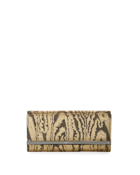 Jimmy Choo Milla Moire Flap Clutch Bag, Gold/Black