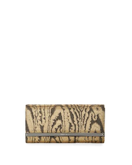 Milla Moire Flap Clutch Bag, Gold/Black