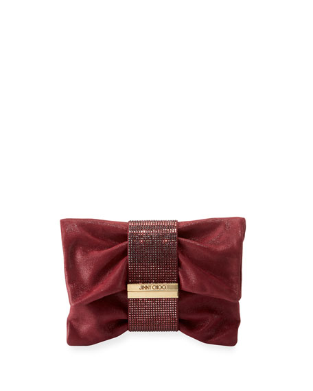 Jimmy Choo Chandra Small Crystal Clutch Bag, Bordeaux