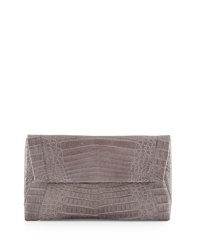 Small Soft Crocodile Envelope Clutch Bag