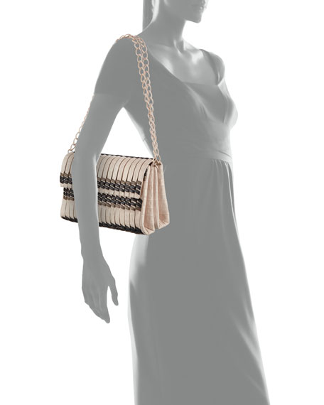 Bamboo Woven Crocodile Shoulder Bag, Blush/Black/Taupe
