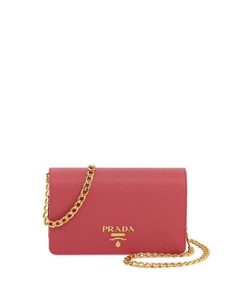 Prada Saffiano Lux Crossbody Bag, Pink (Begonia)