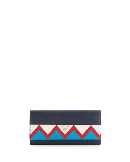 Prada Saffiano Greca Flap Wallet, Blue/White/Red