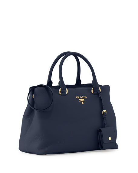 Vitello Daino Tote Bag, Dark Blue
