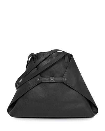 Ai Medium Leather Shoulder Bag, Black