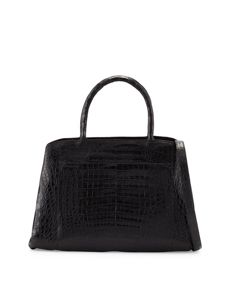 Nancy Gonzalez Crocodile Large Center-Zip Tote Bag, Gray