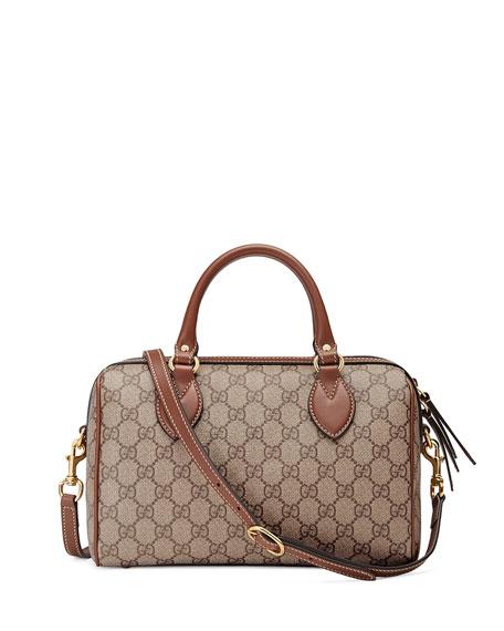 GG Supreme Embroidered Top-Handle Small Boston Bag, Multi