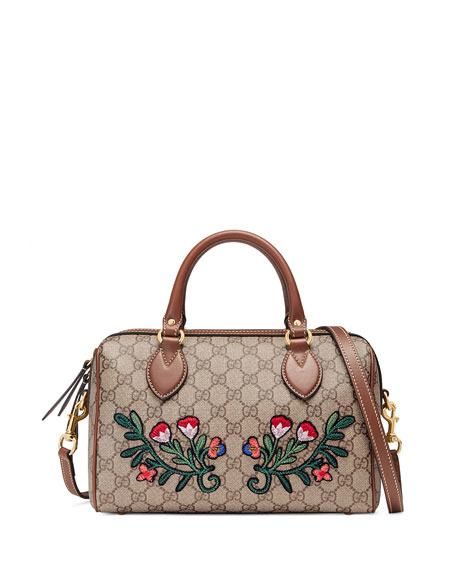 Gucci GG Supreme Embroidered Top-Handle Small Boston Bag,
