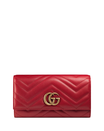 GG Marmont Medium Quilted Flap Wallet, Red