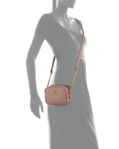 GG Marmont Mini Matelassé Camera Bag, Nude