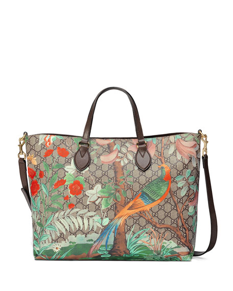 Gucci Tian GG Supreme Top-Handle Tote Bag, Brown