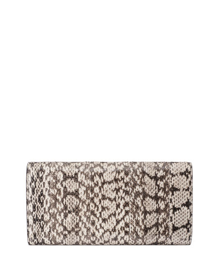 Image 3 of 4: GG Marmont Pearly Snakeskin Clutch Bag, Natural