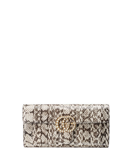 Image 1 of 4: GG Marmont Pearly Snakeskin Clutch Bag, Natural