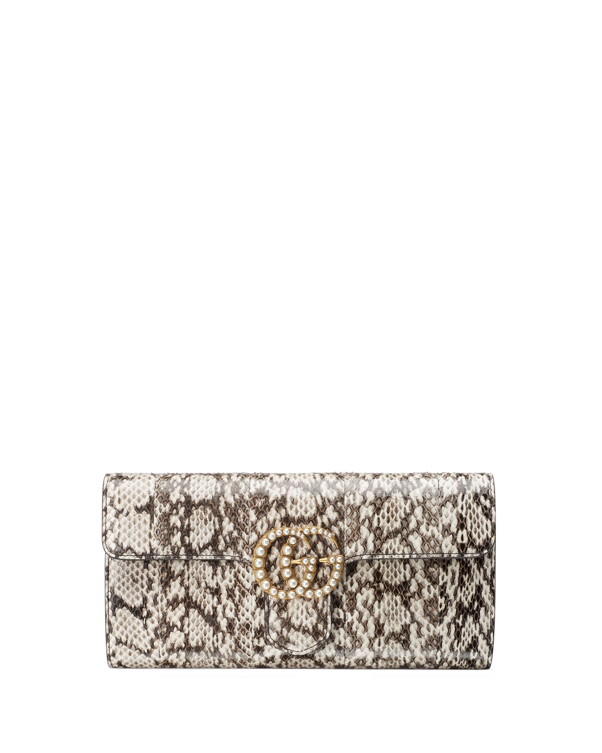 fbdee7c08c5f23 Gucci GG Marmont Pearly Snakeskin Clutch Bag, Natural   Neiman Marcus