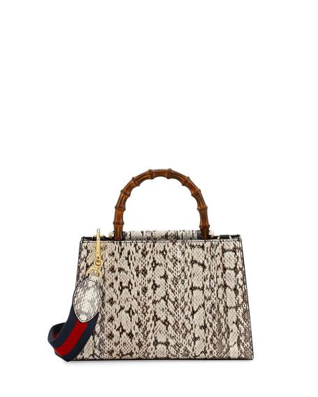 Gucci Nymphea Small Bamboo-Handle Snakeskin Tote Bag ...