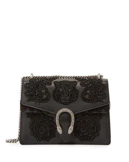 Dionysus Medium Embroidered Shoulder Bag, Black