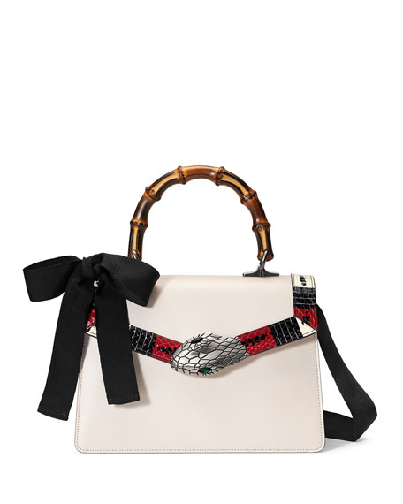 Gucci Lilith Leather Top-Handle Satchel Bag, White/Red/Black